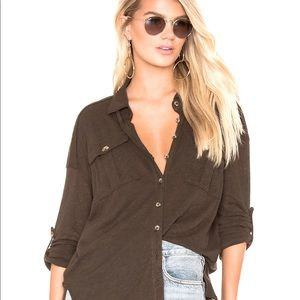 Free People Penelope Button Down Green Linen Top